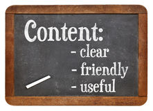 Clear, friendly and useful content on blackboard Royalty Free Stock Photo
