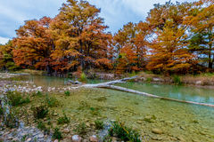 Clear Frio River with Cross in water  at Garner State Park, Texas Stock Photo