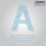 Clear Glass Alphabet and Numbers Vector Royalty Free Stock Images