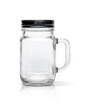 Clear glass bottle with black aluminium cap  on white Stock Images