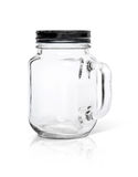 Clear glass bottle with black aluminium cap  on white Stock Image