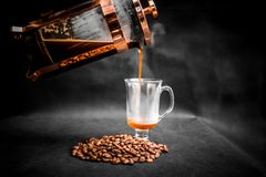 Clear Glass Cup Filled With Coffee Royalty Free Stock Photography
