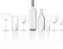 Clear glass empty bottles and glasses Royalty Free Stock Image