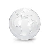 Clear glass globe 3D illustration europe and africa map stock illustration