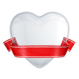 Clear glass heart with red ribbon Stock Image