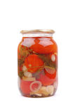 The clear glass jar of colorful pickled vegetables Stock Photos