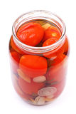 The clear glass jar of colorful pickled vegetables Royalty Free Stock Image