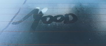 Clear Glass With Mood Steam Text stock photography