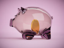 Clear glass piggy bank with golden coin inside 3d illustration Royalty Free Stock Images