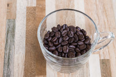 Clear glass with roasted coffee beans Royalty Free Stock Photo