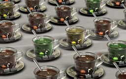 Clear Glass Teacup With Chocolate Drink Stock Image