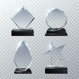 Clear glass trophy awards  on transparent background vector set. Glossy board and clear panel trophy illustration Royalty Free Stock Photography
