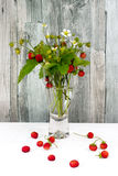 Clear glass vase with bunch of ripe red wild strawberries Stock Photos