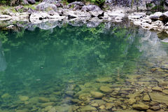 The clear green water and pebbles Royalty Free Stock Photos