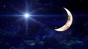 Clear half moon blue star stock footage