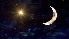 Clear half moon yellow star stock footage
