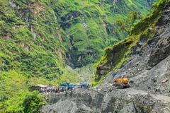 Clear the highway after landslide Stock Image