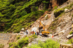 Clear highway after landslide Royalty Free Stock Photo