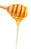 Clear honey flowing down from wood spoon close up Stock Images