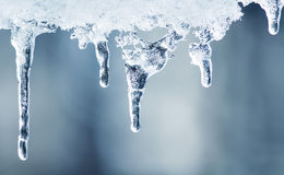 Clear ice icicles hang on a clear day Stock Photos