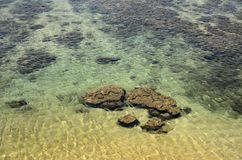 Clear Indian Ocean with rocks at Galle Sri Lanka Royalty Free Stock Photos