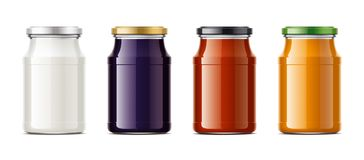 Clear Jar mockup for dairy foods, confiture and sauces Stock Photography