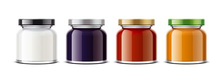 Clear Jar mockup for dairy foods, confiture and sauces. Small size royalty free stock images