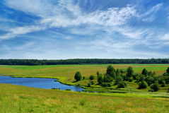 Clear Lake in the field against the blue sky Stock Image
