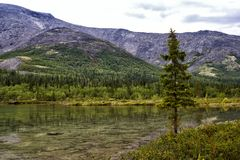 Clear Lake in the Khibiny Mountains. Russia Stock Photo