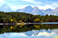 Clear lake with water reflections Royalty Free Stock Images
