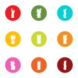 Clear light icons set, flat style. Clear light icons set. Flat set of 9 clear light vector icons for web isolated on white background Stock Photography