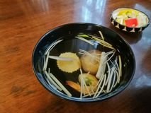 Clear light seafood Japanese soup Royalty Free Stock Photos