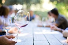 Clear Long Stemmed Wine Glass Stock Photo