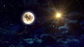 Clear moon and yellow star stock footage