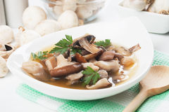 Clear mushroom soup Stock Image