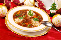 Clear mushroom soup  for christmas Royalty Free Stock Photography