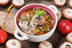 Clear mushroom soup. Clear portabello mushroom, vegetable and noodle soup Stock Image
