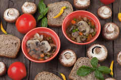 Clear mushroom soup Royalty Free Stock Images