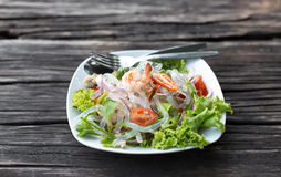 Clear noodle salad with prawn and vegetable Stock Photo