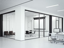 Clear office interior wiht meeting room. 3d rendering