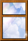 Clear Outlook Illustration. Computer generated illustration of a sky with a rainbow seen through a modern window royalty free illustration