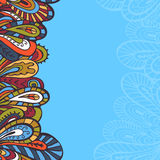 Clear paisley border. Hand drawn abstract paysley border. Endless vertical border Royalty Free Stock Images