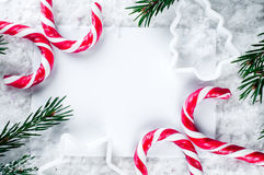 Clear paper laying with candy cane. Stock Photography