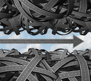 Clear Path. Business success concept with a group of tangled and confused three dimensional roads grouped together and an individual highway shaped as an arrow vector illustration