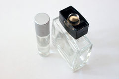 Clear perfume bottles. On a white background Royalty Free Stock Images
