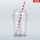 Clear plastic cup with sphere dome cap and tube. Clear plastic cup with sphere dome cap and cocktail tube. For milkshake and lemonade and smoothie. Vector royalty free illustration