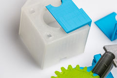 Clear plastic material for rapid prototyping and home manufacturing. 3D design, printing and fabrication is one of the hottest new trends for Makers, and rapidly Stock Photography