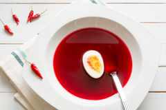 Clear red beetroot soup Royalty Free Stock Photo