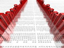 Clear red graph on dollar report Stock Photo