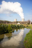 Clear Reflection Under Nuclear Power Plant Exhaust Plume Royalty Free Stock Photo